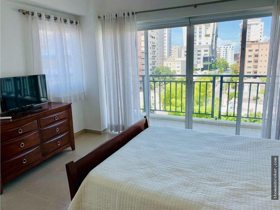 apartamento piso alto 2hab amueblado piantini