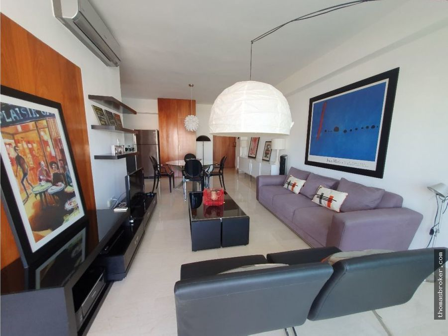 apartamento 1hab amueblado c2parq naco