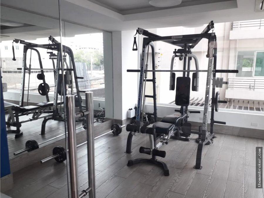 apartamento 2hab amueblado cpiscina y gym naco