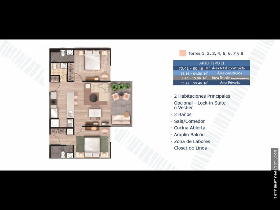 apartamentos sobre planos en serena del mar