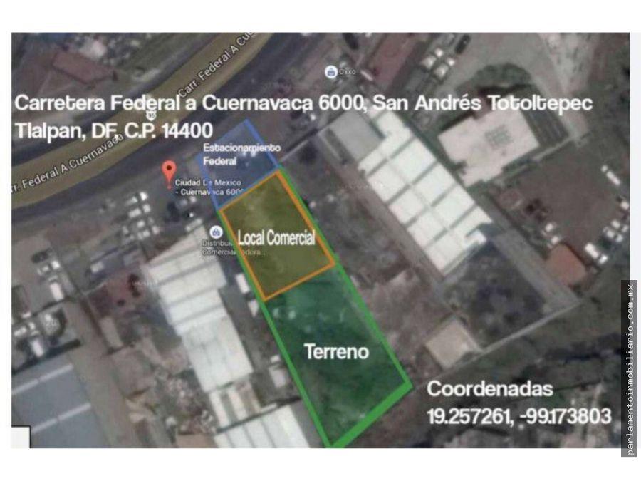 terreno urbano en san andres totoltepec tlalpan ciudad de mexico