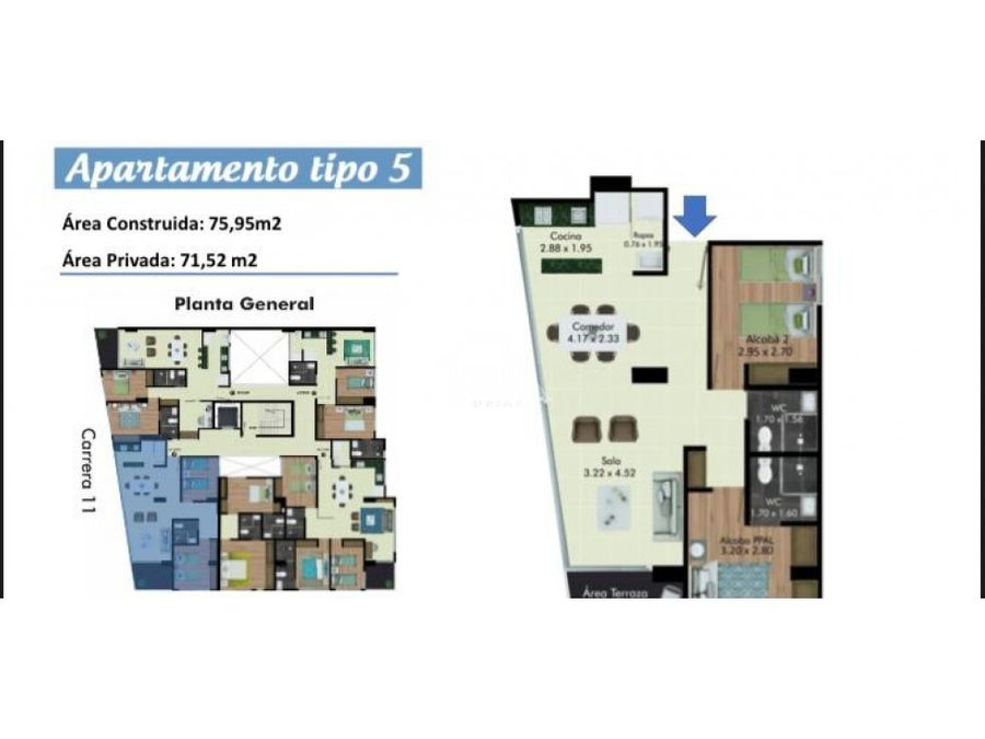 venta de apartamento sobre planos al norte