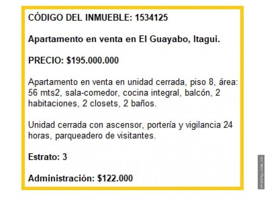 apartamento en venta en el guayabo itagui