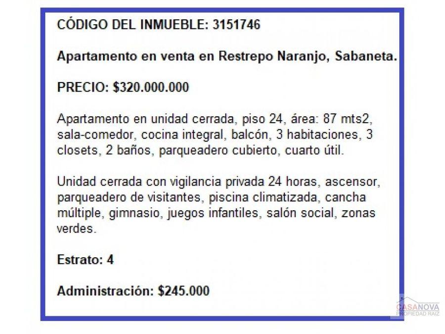 apartamento en venta en restrepo naranjo sabaneta