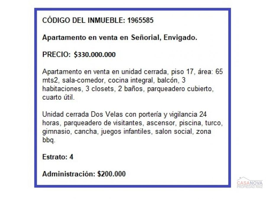 apartamento en venta en senorial envigado