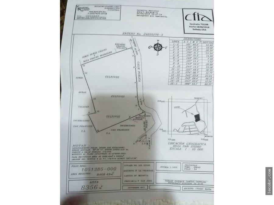 vendo terreno en los sitios de moravia de 8192 m2