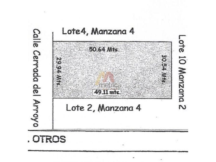 terreno en hacienda residencial de 1519 m2