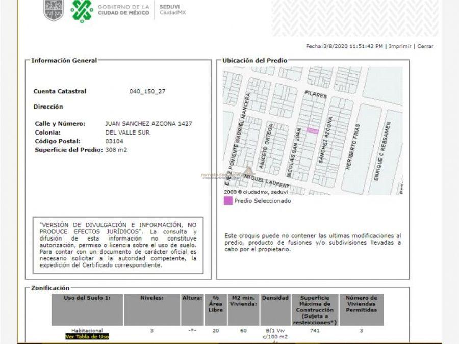 departamento en del valle centro mx20 iu7928