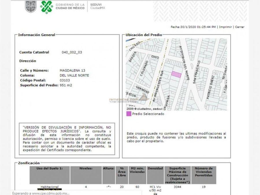 departamento en del valle mx20 hq6259