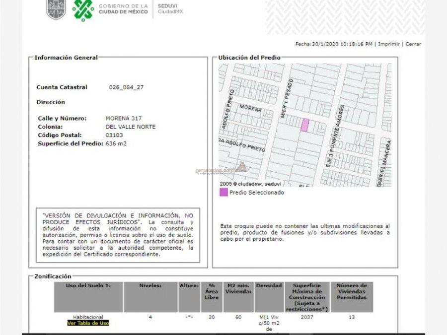 departamento en del valle centro mx20 hq7477