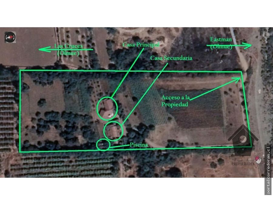 las cruces olmue 33 hectareas dos casas