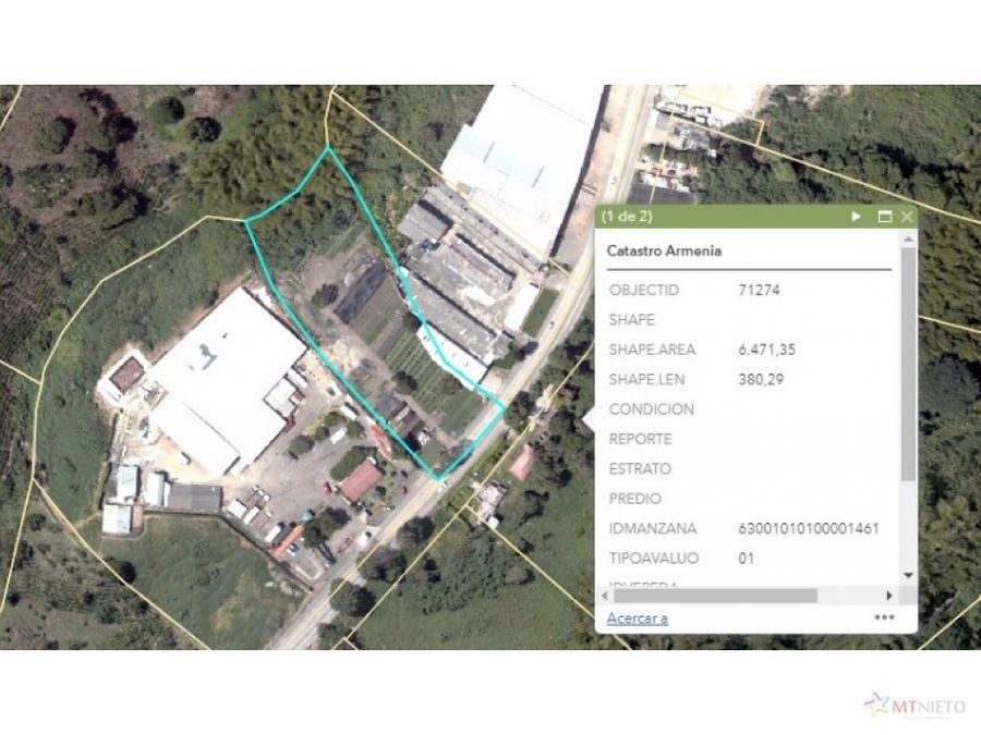 lote 6500 m2 sector industrial via el caimo