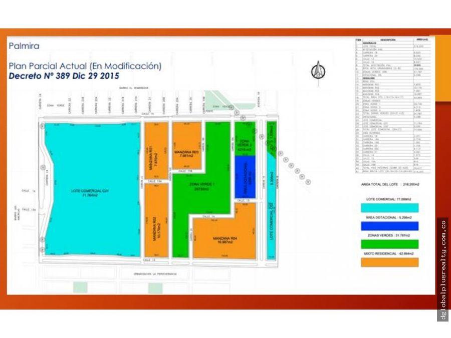 super lote para urbanizar en palmira con plan parcial excelente