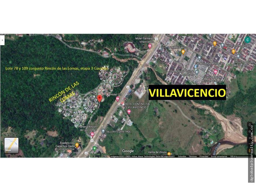 villavicencio lot espectacular centro residencial rincon de las lomas