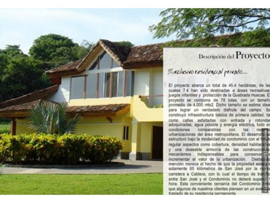 lote residencial de 4272 m2 orotina alajuela
