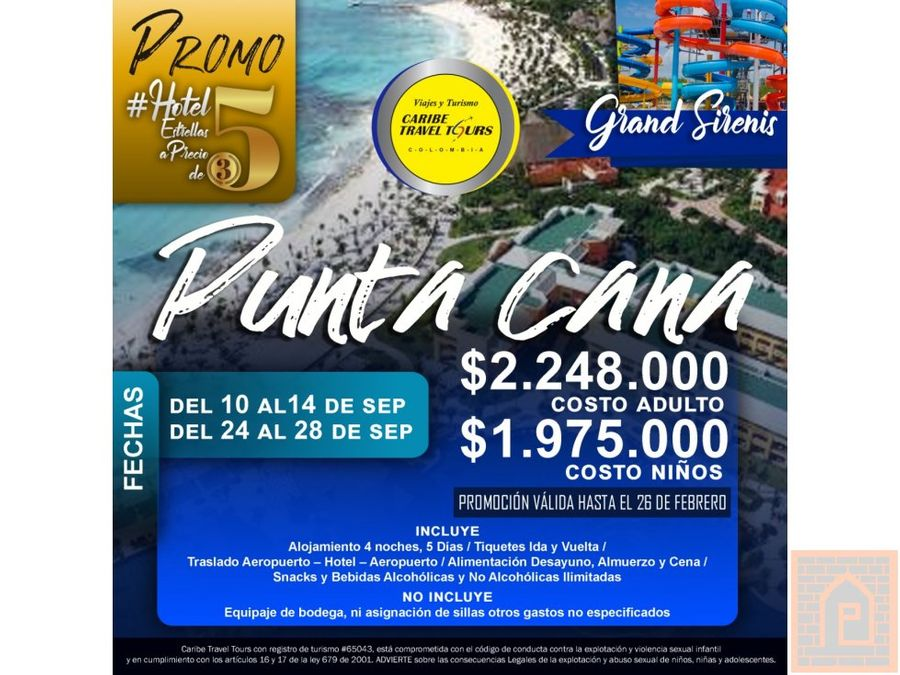planes viajes tours caribe colombia punta cana