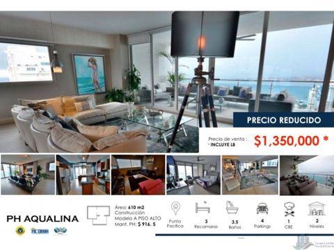 apartamento 2 niveles vista al mar en punta pacifica ph aqualina 610m2