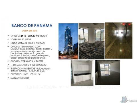 oficina costa del este torre banco panama 21414m2
