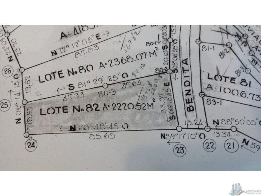 terreno de 2220 m2 en las vistas de cerro azul precio negociable