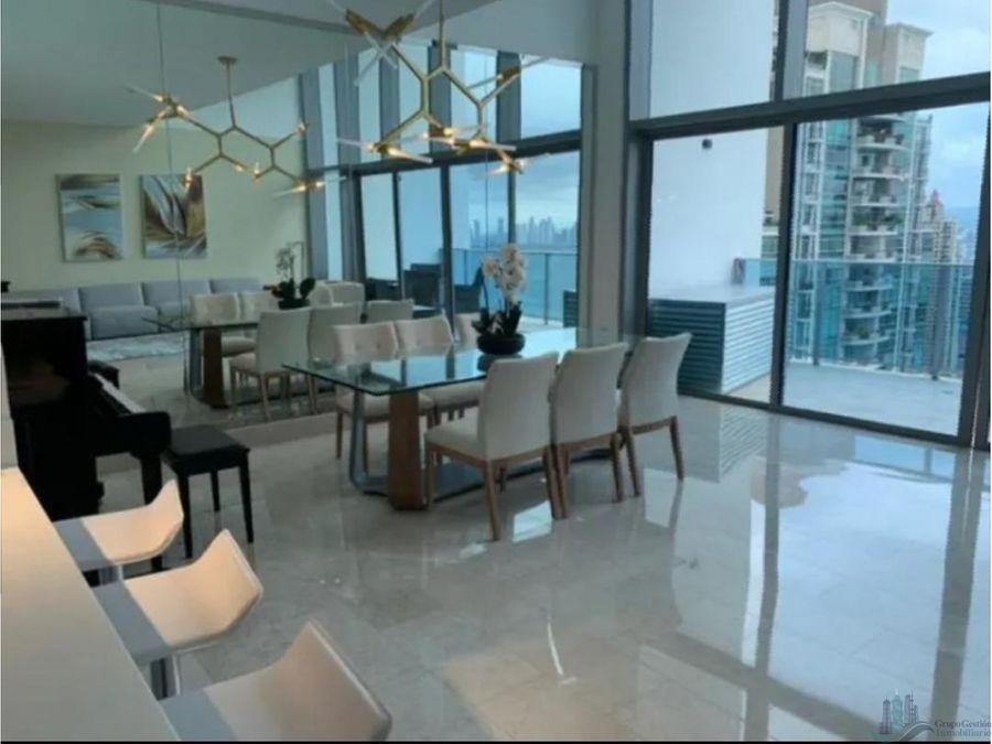 se vende apartamento amoblado en el ph grand tower 197m2