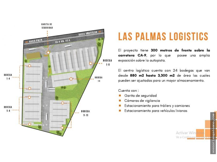 bodega en renta km 32 ruta al pacifico amatitlan las palmas