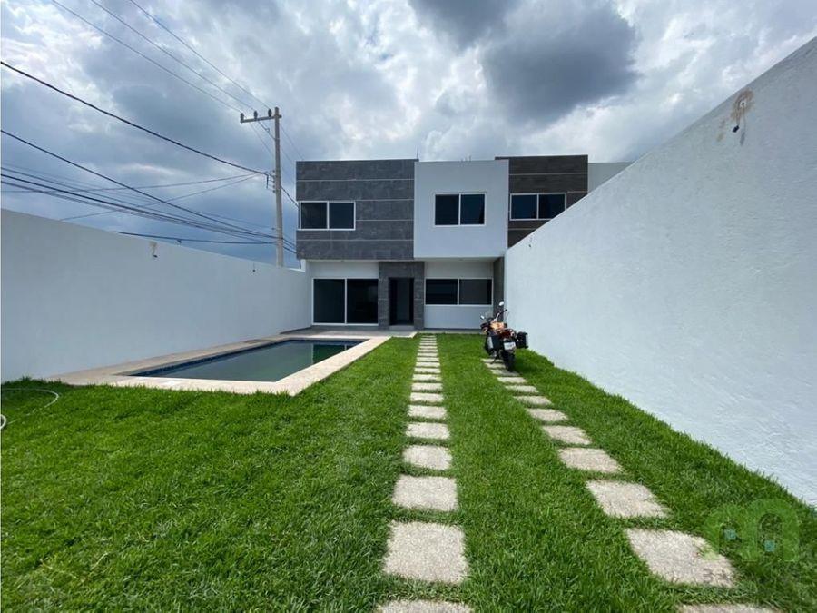 venta de casa sola nueva con alberca propia y jardin en morelos