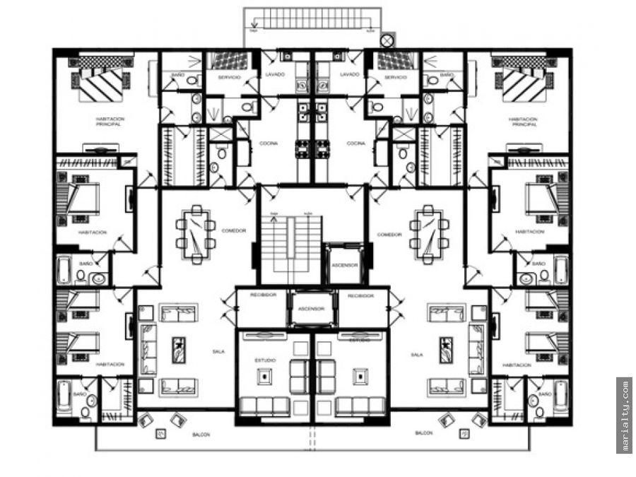 se vende apartamento con balcon de 3 habitaciones en piantini