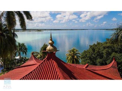 hotel en venta a orillas de la laguna de bacalar