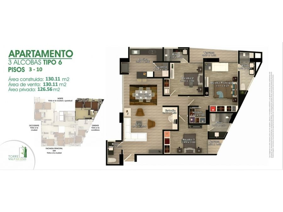 apartamento para la venta en el norte circasia q