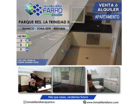 se vendealquila apartamento en parque res la trinidad ve01 0940sj rl