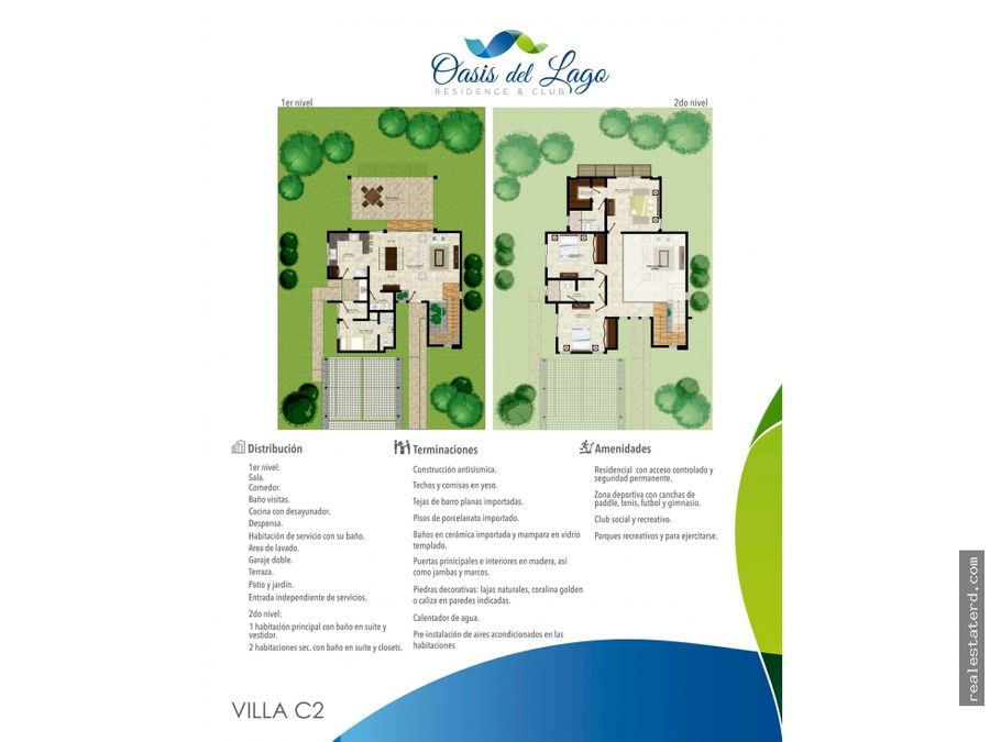nueva villa de 2 niveles y 3 hab tipo c2 en oasis del lago