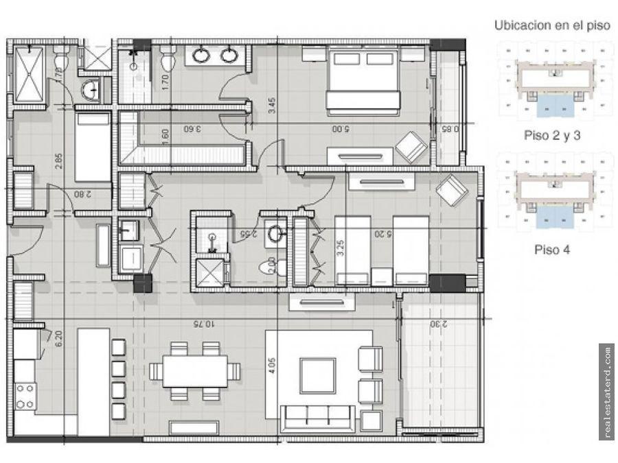 apartamento tipo b6 de 2 hab y cuarto de servicio en construccion