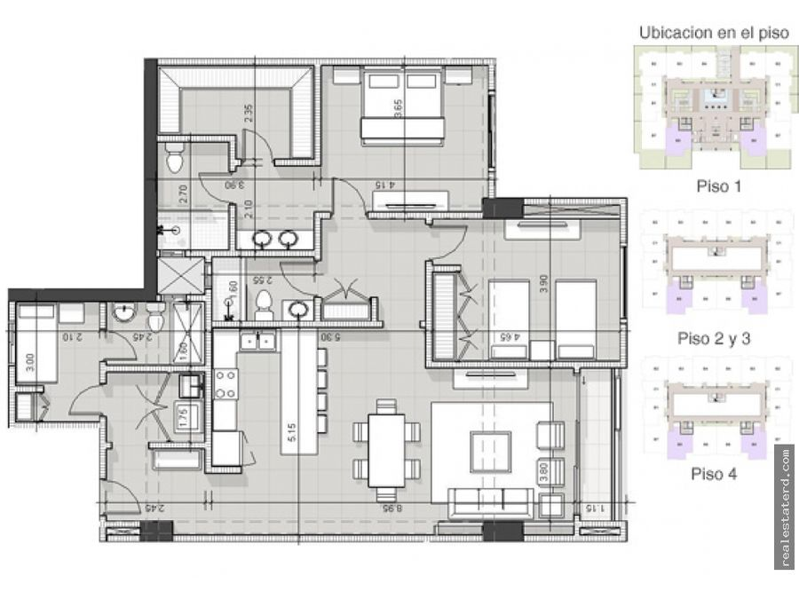 apartamento tipo b5 de 2 hab y cuarto de servicio en green one ii
