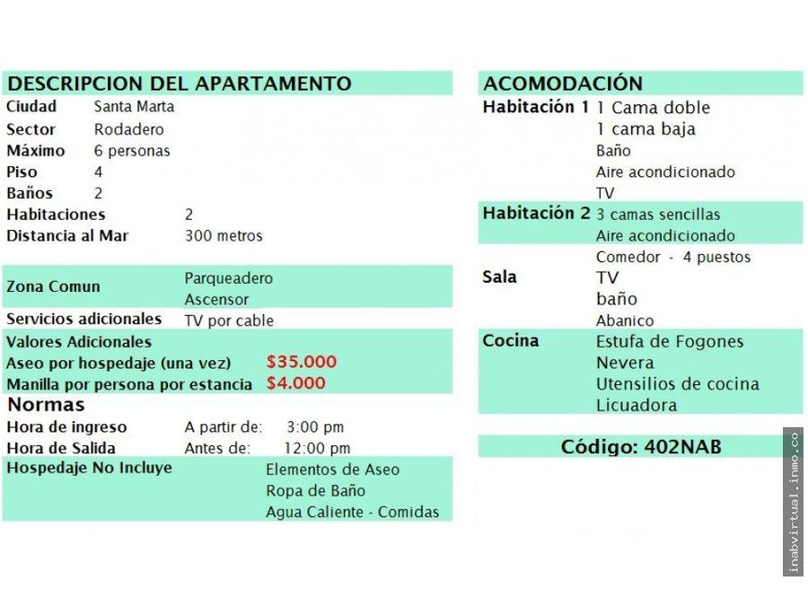 apartamento rodadero 2 hab 6 per 190000 402nab