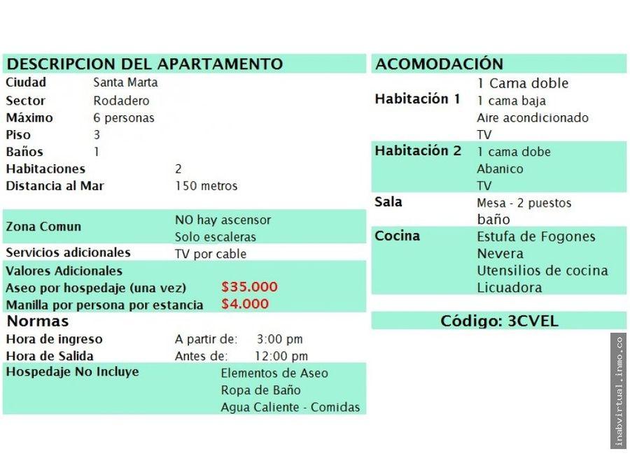 apartamento rodadero 2 hab 6 per 190000 3cvel