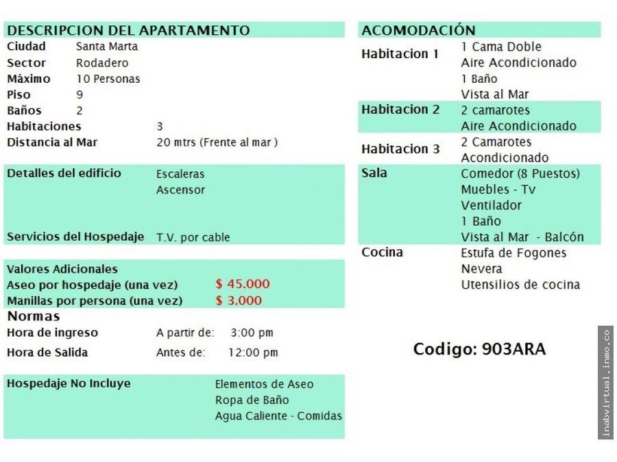 apartamento rodadero 3 hab 10 per 370000 903ara
