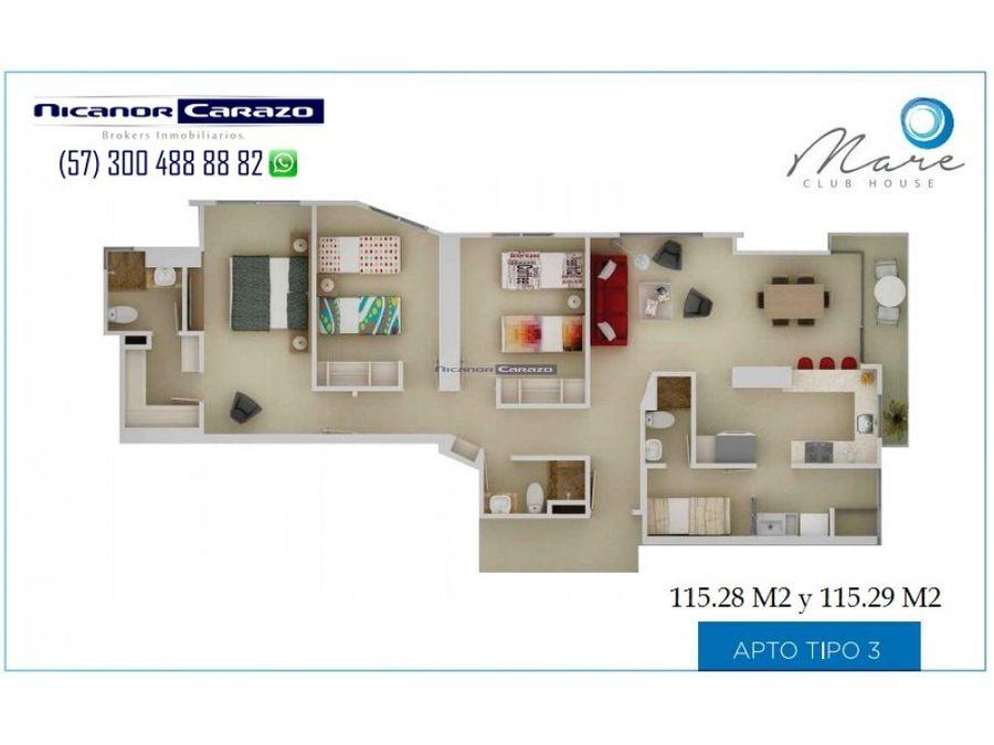 vendemos apartamento en 3 alcobas crespo cartagena