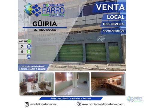 en venta local comercial con apartamentos en guiria ve03 0366gr mn