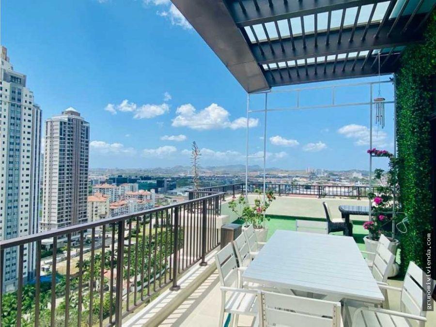 venta alquiler espectacular penthouse amoblado en santa maria panama