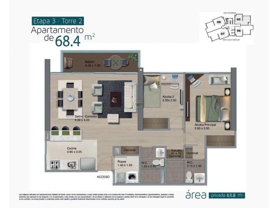 venta apartamento loma del indio medellin 68 m2 rentando 1820000