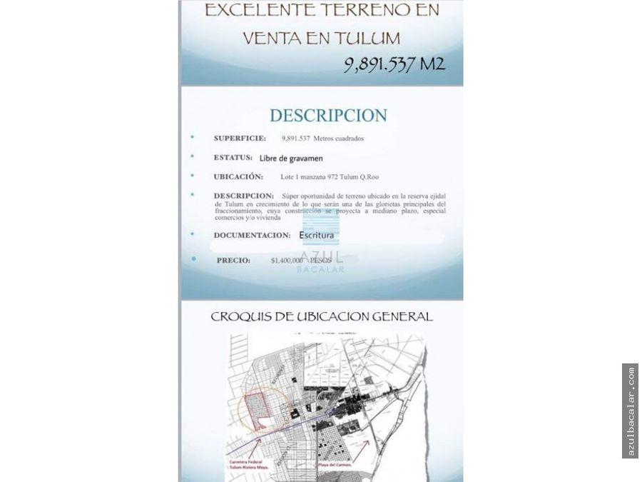 venta de terreno en tulum reg14 9891mtrs2