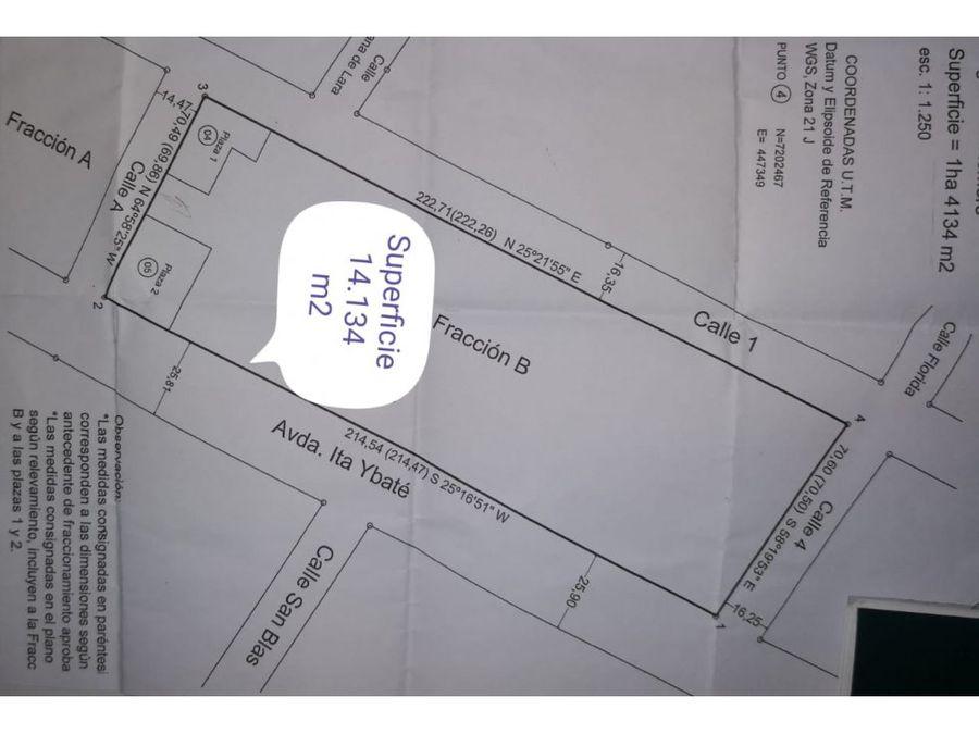 se vende 14132 m2 en luque sobre britez borges