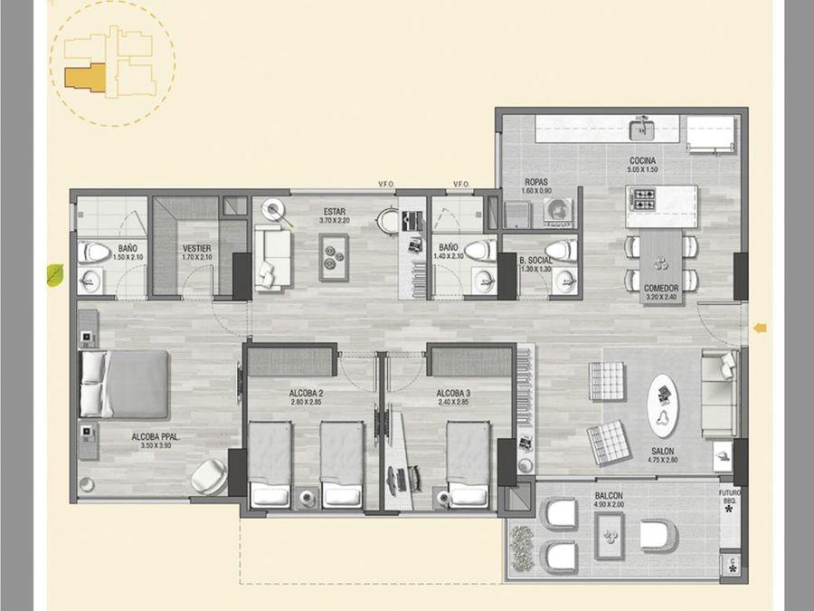 apartamento en condominio loma de las brujas
