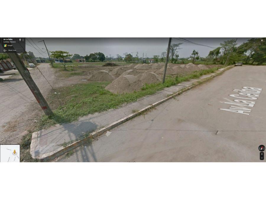 terreno en venta av la ceiba fracc brisas del carrizal en tabasco