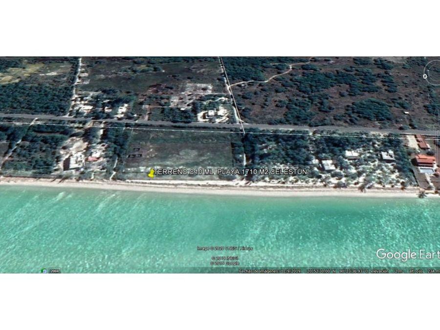 terreno c 10 m playa x 171 m en celestun