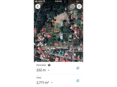 venta lote residencial de 2700m2 en centro de boquete