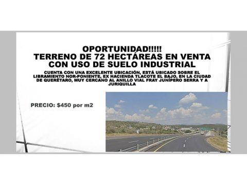 terreno de 72 hectareas uso de suelo industrial