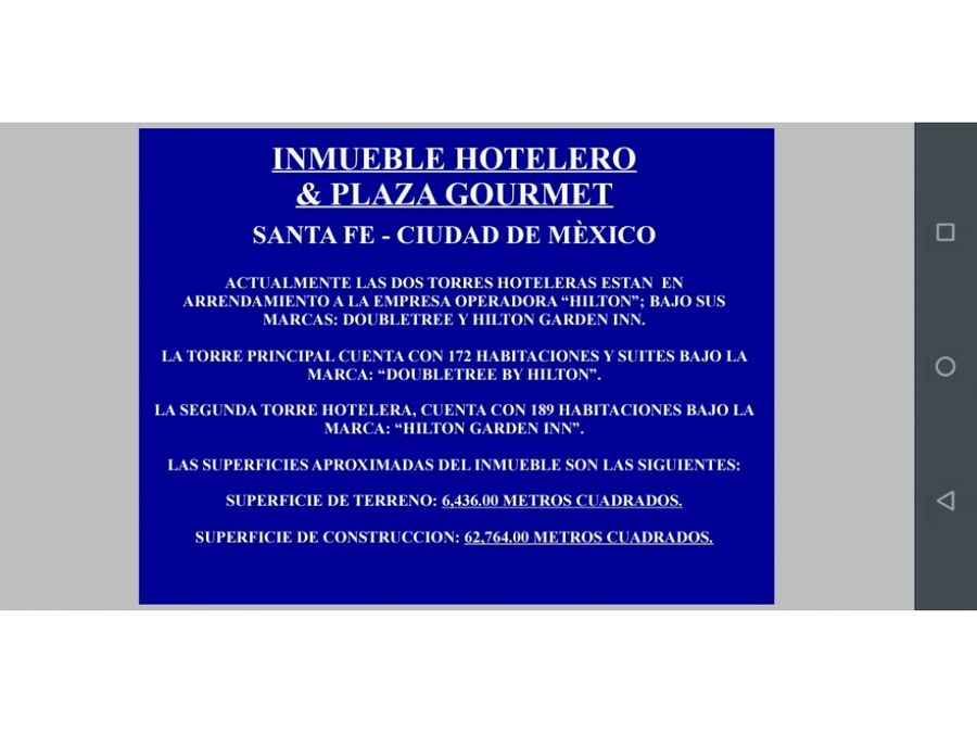 inmueble hotelero plaza gourmet santa fe cdmx