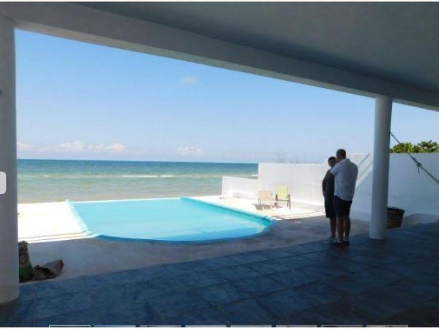 casa elegante frente al mar de 2 pisos en chelem yucatan