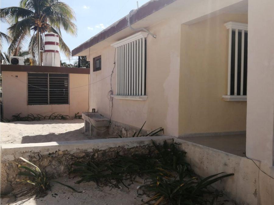 casa frente al mar de 1 piso en el pto de chuburna